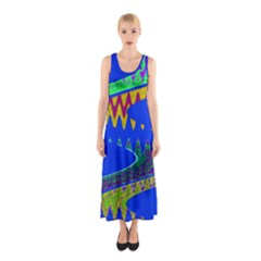 Colorful Wave Blue Abstract Sleeveless Maxi Dress by BrightVibesDesign