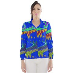 Colorful Wave Blue Abstract Wind Breaker (women) by BrightVibesDesign