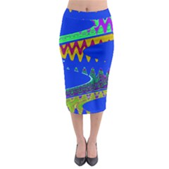 Colorful Wave Blue Abstract Midi Pencil Skirt by BrightVibesDesign