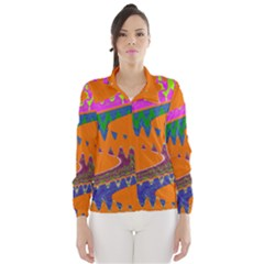 Colorful Wave Orange Abstract Wind Breaker (women) by BrightVibesDesign