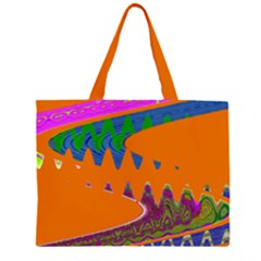 Colorful Wave Orange Abstract Large Tote Bag by BrightVibesDesign