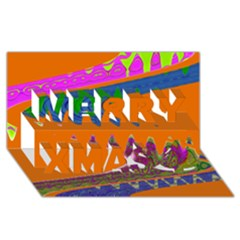 Colorful Wave Orange Abstract Merry Xmas 3d Greeting Card (8x4)  by BrightVibesDesign