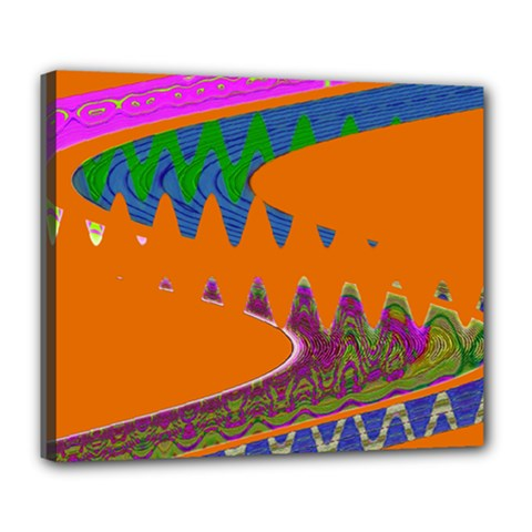 Colorful Wave Orange Abstract Deluxe Canvas 24  x 20   by BrightVibesDesign