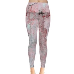 Coral Pink Abstract Background Texture Leggings  by CrypticFragmentsDesign