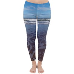 Ocean Surf Beach Waves Winter Leggings  by CrypticFragmentsColors
