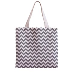Medium Grey & White Zigzag Pattern Zipper Grocery Tote Bag by Zandiepants