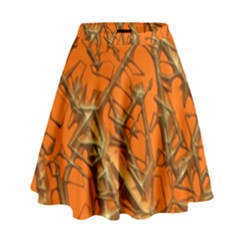Thorny Abstract, Orange High Waist Skirt by MoreColorsinLife