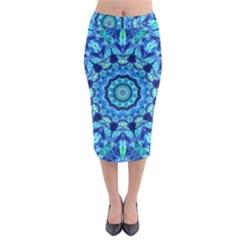 Blue Sea Jewel Mandala Midi Pencil Skirt by Zandiepants