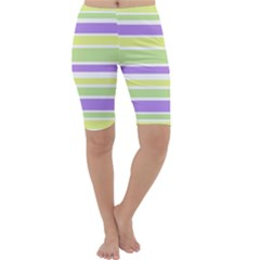 Yellow Purple Green Stripes Cropped Leggings  by BrightVibesDesign