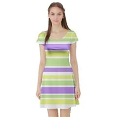 Yellow Purple Green Stripes Short Sleeve Skater Dress by BrightVibesDesign