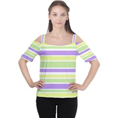 Yellow Purple Green Stripes Women s Cutout Shoulder Tee by BrightVibesDesign