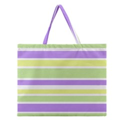 Yellow Purple Green Stripes Zipper Large Tote Bag by BrightVibesDesign