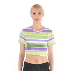 Yellow Purple Green Stripes Cotton Crop Top by BrightVibesDesign
