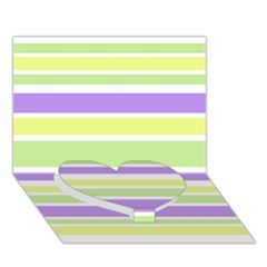 Yellow Purple Green Stripes Heart Bottom 3d Greeting Card (7x5)  by BrightVibesDesign