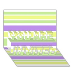 Yellow Purple Green Stripes You Are Invited 3d Greeting Card (7x5)  by BrightVibesDesign