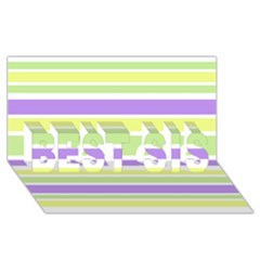 Yellow Purple Green Stripes Best Sis 3d Greeting Card (8x4)  by BrightVibesDesign