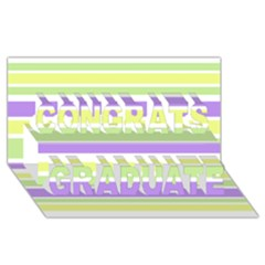 Yellow Purple Green Stripes Congrats Graduate 3D Greeting Card (8x4)  by BrightVibesDesign