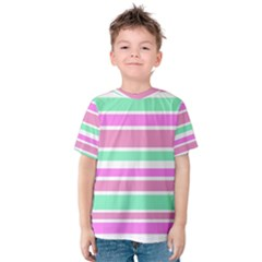 Pink Green Stripes Kid s Cotton Tee by BrightVibesDesign