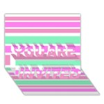 Pink Green Stripes YOU ARE INVITED 3D Greeting Card (7x5)
