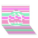 Pink Green Stripes Peace Sign 3D Greeting Card (7x5)