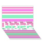 Pink Green Stripes HOPE 3D Greeting Card (7x5)