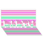Pink Green Stripes PARTY 3D Greeting Card (8x4)