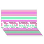 Pink Green Stripes BELIEVE 3D Greeting Card (8x4)