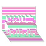 Pink Green Stripes You Did It 3D Greeting Card (7x5)