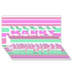 Pink Green Stripes Happy New Year 3D Greeting Card (8x4)