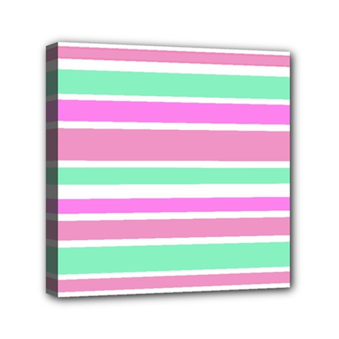 Pink Green Stripes Mini Canvas 6  X 6  by BrightVibesDesign