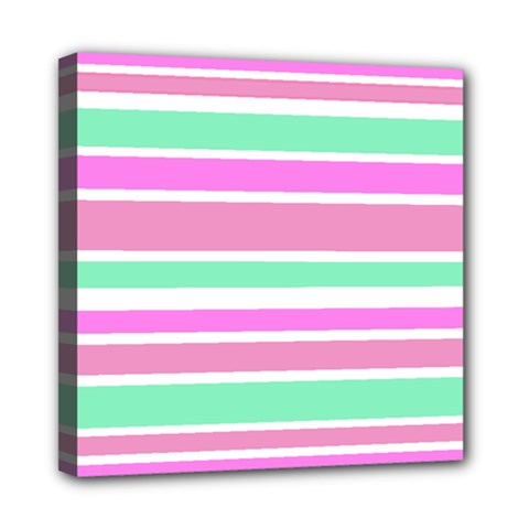 Pink Green Stripes Mini Canvas 8  X 8  by BrightVibesDesign