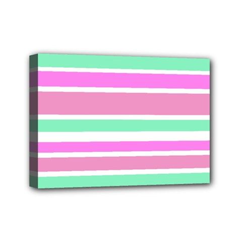 Pink Green Stripes Mini Canvas 7  X 5  by BrightVibesDesign