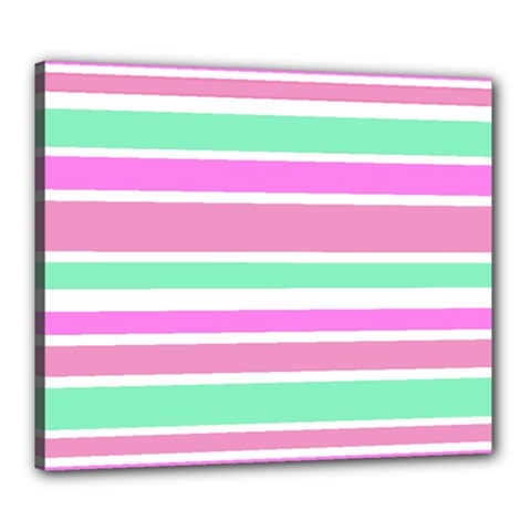 Pink Green Stripes Canvas 24  X 20  by BrightVibesDesign