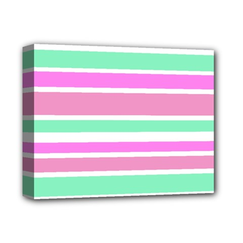 Pink Green Stripes Deluxe Canvas 14  X 11  by BrightVibesDesign