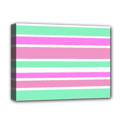 Pink Green Stripes Deluxe Canvas 16  X 12   by BrightVibesDesign