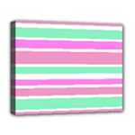Pink Green Stripes Deluxe Canvas 20  x 16