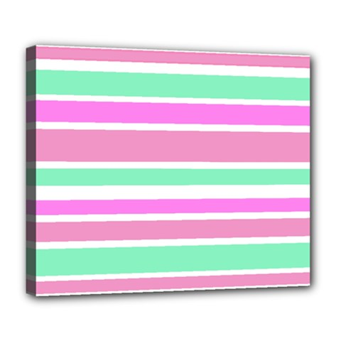 Pink Green Stripes Deluxe Canvas 24  X 20   by BrightVibesDesign