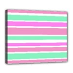 Pink Green Stripes Deluxe Canvas 24  x 20