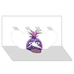 Funny Fruit Face Head Character Twin Hearts 3d Greeting Card (8x4)  by dflcprints