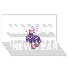 Funny Fruit Face Head Character Happy New Year 3d Greeting Card (8x4)  by dflcprints