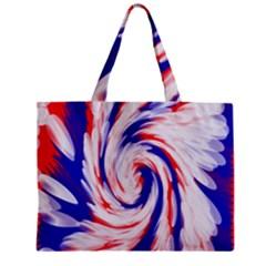 Groovy Red White Blue Swirl Zipper Mini Tote Bag by BrightVibesDesign