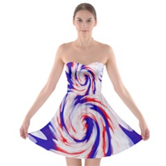 Groovy Red White Blue Swirl Strapless Dresses by BrightVibesDesign