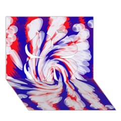 Groovy Red White Blue Swirl Clover 3d Greeting Card (7x5)  by BrightVibesDesign