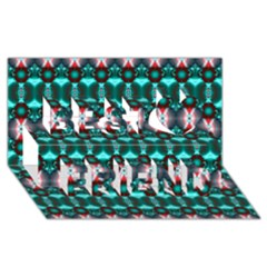 Fancy Teal Red Pattern Best Friends 3d Greeting Card (8x4)  by BrightVibesDesign