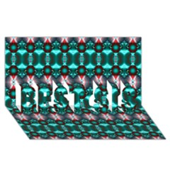 Fancy Teal Red Pattern Best Sis 3d Greeting Card (8x4)  by BrightVibesDesign
