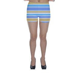 Blue Yellow Stripes Skinny Shorts by BrightVibesDesign