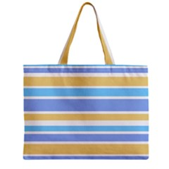 Blue Yellow Stripes Zipper Mini Tote Bag by BrightVibesDesign