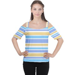 Blue Yellow Stripes Women s Cutout Shoulder Tee by BrightVibesDesign