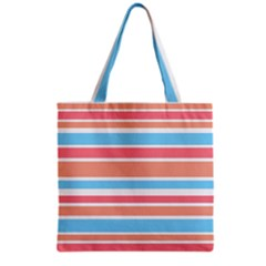 Orange Blue Stripes Grocery Tote Bag by BrightVibesDesign