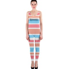 Orange Blue Stripes Onepiece Catsuit by BrightVibesDesign